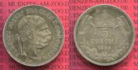 Österreich Ungarn, Austria Hungary 5 Korona / Kronen Silbermünze Österreich Ungarn 5 Kronen Korona 1900 Silber Franz Josef Portrait