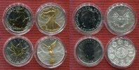 England, Mexiko, USA und Kanada 4 x 1 Unze Silber mit Teilvergoldung Set von 4 Silbermünzen teilvergoldet 2012 je 1 Unze Silber
