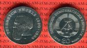 DDR 20 Mark Silbergedenkmünze Gedenkmünze 150. Geburtstag Friedrich Engels