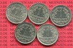 III. Reich 1 Reichsmark Nickel Kursmünze Nickel 5 Münzen A D E F G