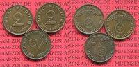 III. Reich, Weimarer Republik 2 Pfennig Kursmünze mit Hoheitszeichen Jahrgang Komplett mit Reichsadler all 1936 Mintmarks 3 Stück