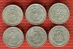 Weimarer Republik Deutsches Reich 6 x 2 Mark 2 Mark Kursmünzen A, D, E, F, G und J komplett - alle Prägestätten -