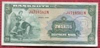 Bundesrepublik Deutschland Berlin 20 DM  Deutsche Mark Kopfgeld Germany Federal Republic 20   Deutsche Mark 1948 Kopfgeld B-Stempel