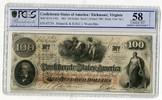 100 Dollars Banknote 1862 CSA Konföderiert...