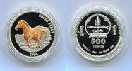 Mongolei Mongolia 500 Tugrik Silbermünze Farbmünze Pferd Equus Ferus 500 Tugrig 1996