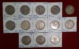 USA, United States of Amerika Lot 13 x 1/2 Dollar Silber Liberty Walking Half Dollars Silber