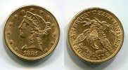 5 Dollars Half eagle 1881 USA Liberty, Fra...
