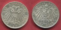 Lübeck City 3 Mark Silber Kursmünze 1909 Freie und Hansestadt Lübeck vz-prfr. Patina winz rdf