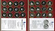 Euro Motivproben Silber 12 Euro Motivproben Silber Teilvergoldet Euro Motivprobensatz Silber Teilvergoldet PP 12 x je 25 g, je 40 mm, Feinsilber