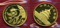 China 100 Yuan Panda, 1 Unze China 100 Yuan 1991 Gold Panda, 1 Unze Stempelglanz mit Folie Selten !
