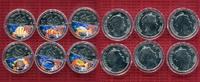 Fiji,  Tiermotive, Fische 6 x 1 Dollar Farbmünzen Tiermotive Fiji 6 x 1 Dollar 2009 Farbmünzen Tiermotive cu/versilbert m Kapseln Satz Fische