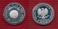 Polen, Poland 500 Zloty Silbermünze Polen 500 Zloty 1986 Fußball WM Mexico Silber PP