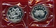 China, Volksrepublik PRC 10 Yuan Lunar Drache Welle China 10 Yuan 2000 Silber PP Lunar Jahr des Drachen Welle in Kapsel Folie
