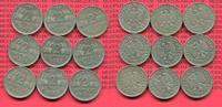 Bundesrepublik Deutschland Lot 9 x 2 DM Weintrauben ohne G 2 DM 1951 D, F, , J, Weintraube Ähren J. 386, Cu/Ni Lot von 9 Münzen