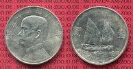 China Republik 1 Dollar Silber Schiffsmotiv China Republik 1 Dollar 1933/34 Sun Jat Sen / Dschunke,
