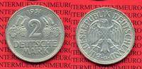 Bundesrepublik Deutschland FRG Germany 2 DM Weintraube Ähren 2 DM 1951 G, Weintraube Ähren J. 386, Cu/Ni Kursmünze seltenste Münzstätte