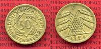 Weimarer Republik Deutsches Reich 50 Rentenpfennig Weimarer Republik 50 Rentenpfennig Kursmünze 1924 D  J. 310