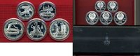 Russland Russia Rußland UDSSR 2 x 5 und 3 x 10 Rubel Russland Olympische Spiele Moslau 1980 3 x 10 2 x 5 Rubel Stgl. mit Box