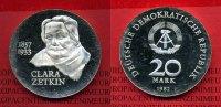 DDR GDR Eastern Germany 20 Mark DDR Silbermünze DDR 20 Mark 1982 A Silber, 125. Geburtstag von Clara Zetkin PP