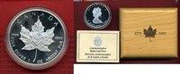 Kanada, Canada 5 Dollars Silbermünze nicht gereinigt Maple Leaf only proof issue 10 Jahre mit Holzbox
