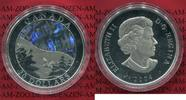 Kanada, Canada 20 Dollars Silbermünze Farbmünze 20 Dollars 2004 Naturwunder Polarlicht Hologramm nur mit Kapsel