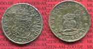 Mexico, Mexiko unter Spanien 4 reales Silbermünze Wappen m. Säulen Mexiko unter Spanien 4 Reales 1740 Mo mo, Pillar Dollar Typ
