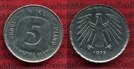 Bundesrepublik Deutschland 5 DM Fehlprägung, dünner Schrötling 5 DM 1975 G Fehlprägung, Dünner Schrötling 3,77 g, 1,3 mm dick