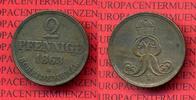 Hannover Altdeutschland 2 Pfennige Hannover 2 Pfennige 1863 B Scheidemünze