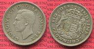 England Großbritannien UK 1 Crown England 1937 Crown Georg VI. Silber S. 4078