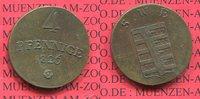 Sachsen Weimar Eisenach Großherzogtum 4 Pfennige Kleinmünze nice toning