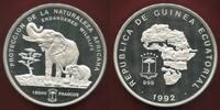 Guinea Equatorial 15000 Francs Silbermünze 1992 Endangered Wildlife 1 Kilo Silber Elefant - Elephant