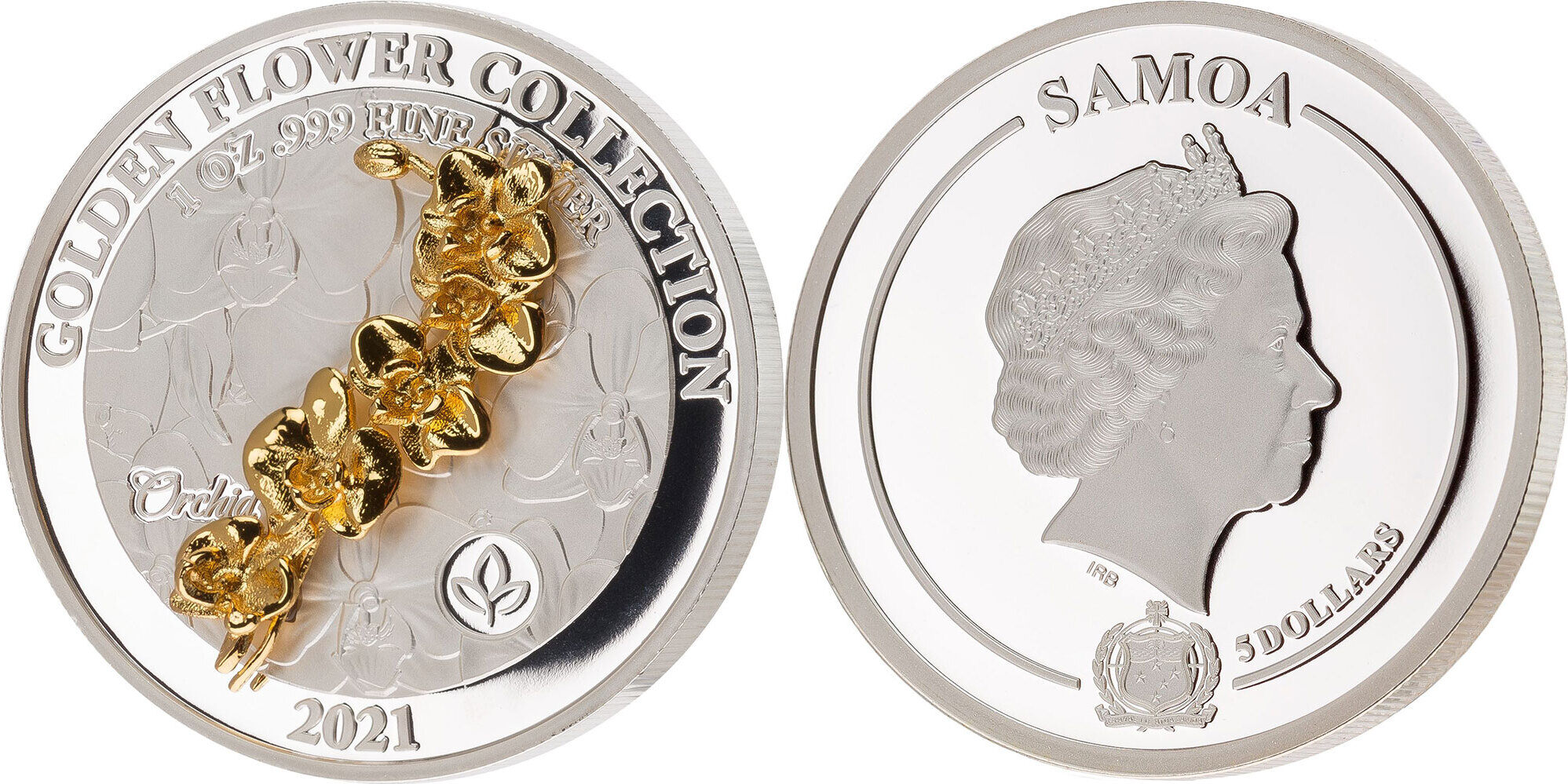 5 Dollars Orchid Golden Flower Collection 1 Oz Silver Coin 5 Samoa 2021 Pp Ma Shops