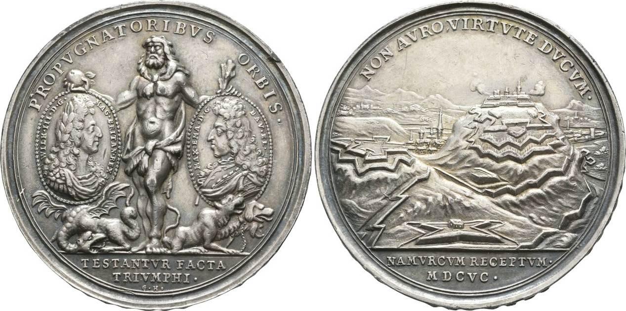 Silbermedaille Rückeroberung Von Namur 1695 Bayern Maximilian Ii