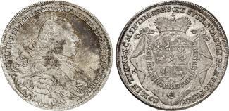 Taler 1762. NEUFÜRSTEN Auersperg Heinrich, 1713-1783  Kabinettstück. Herrliche Patina, St