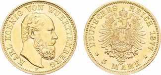 5 Mark 1877 F. WÜRTTEMBERG Karl, 1864-1891.  vz/St