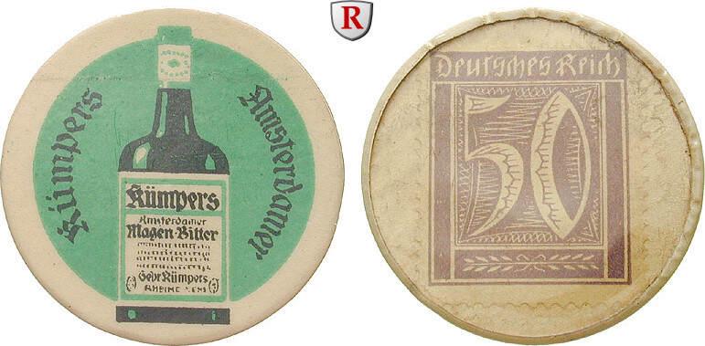 50 Pfennig Kapselgeld o.J. Städtenotgeld Deutschland Westfalen, Gebrüder Kümpers vz-st