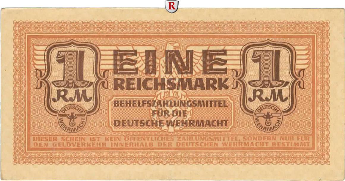 1 Reichsmark o.D. Besatzungsausgaben des 2. Weltkrieges 1939-1945 Behelfzahlmittel der Wehrmacht III
