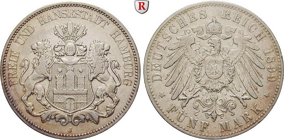 5 Mark 1899 J Hamburg 5 Mark 1899, J. J.65. ss, Rdf.