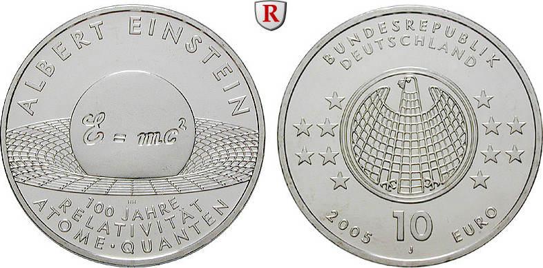 10 Euro 2005 J Gedenkprägungen 10 Euro 2005, J. Albert Einstein. J.514. bfr.