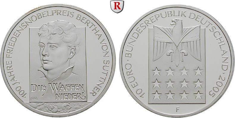 10 Euro 2005 F Gedenkprägungen 10 Euro 2005, F. Bertha von Suttner. J.517. bfr.