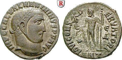 Follis 311-312 Maximinus II., 309-313 ss-vz, Silbersud