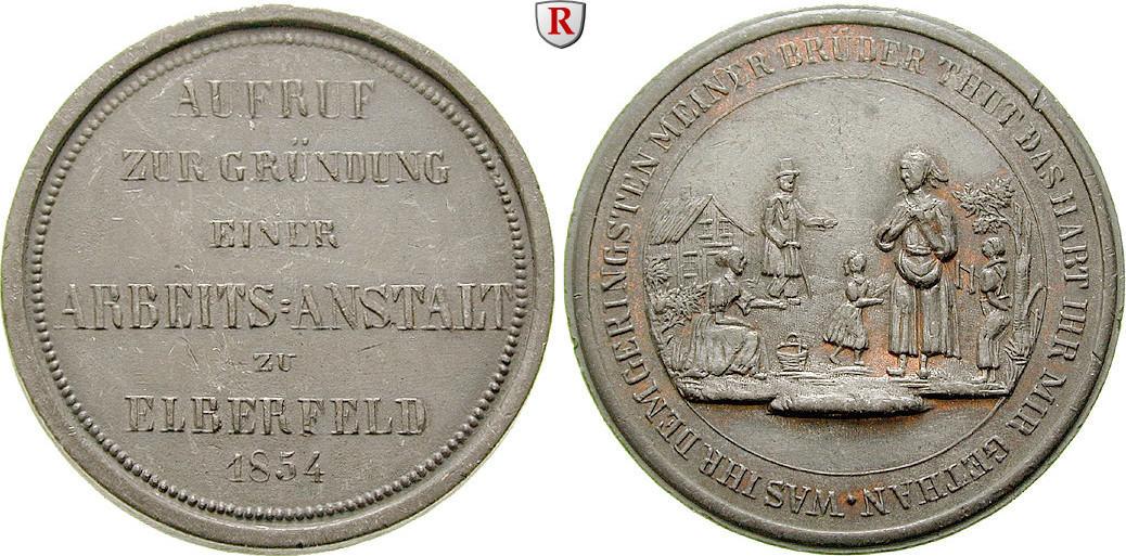 Zinnmedaille 1854 Elberfeld, Stadt ss-vz, ehemals bronziert