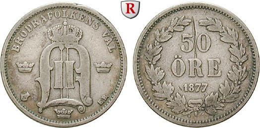 50 Öre 1877 Schweden Oskar II., 1872-1907 ss, Kratzer