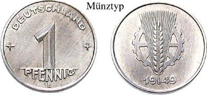 1 Pfennig 1949 E Klein- und Kursmünzen 1 Pfennig 1949, E, Al. J.1501. ss