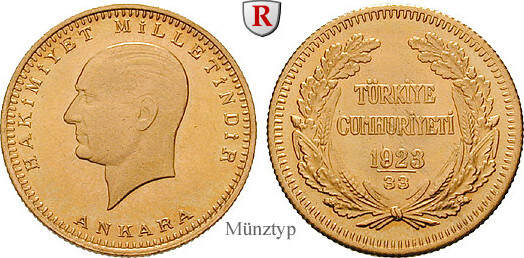 100 Piaster 1943-1981 Türkei 7,2160 g vz