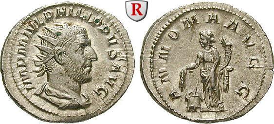 Antoninian 244-247 Philippus I., 244-249 vz+, kleiner Kratzer auf Rs. bei 11 h