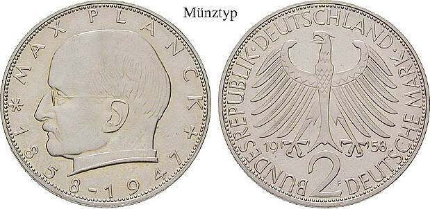 2 DM 1970 J Klein- und Kursmünzen 2 DM 1970, J, Cu-Ni. Planck. J.392. st