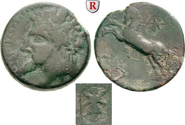 Bronze 148-118 v.Chr. Numidien Königreich, Micipsa, 148-118 v.Chr. f.ss, grüne Patina, Rs. leicht belegt