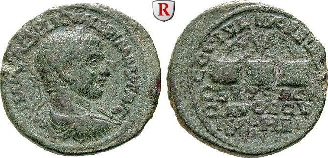 Bronze Koile Syria Heliopolis, Valerianus I., 253-260 f.ss, grüne Patina