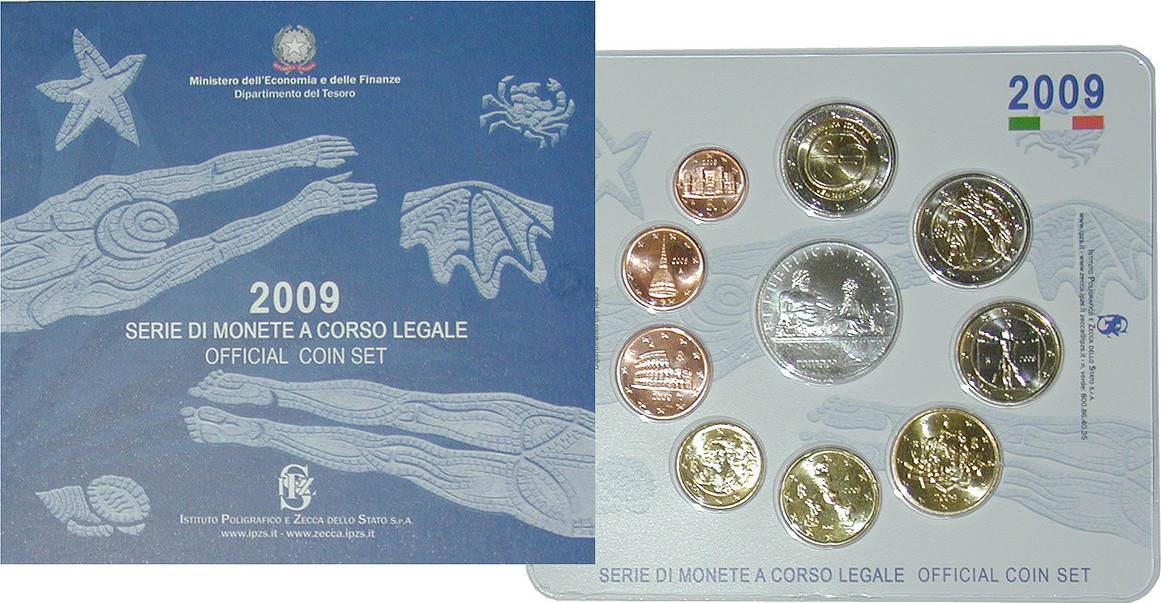 Euro-Kursmünzensatz 2009 Italien Republik, seit 1946 st